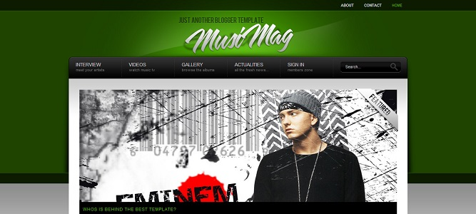 MusiMag Green Blogger Template