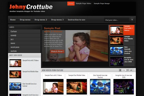 Johny Crottube Youtube Blogger Template