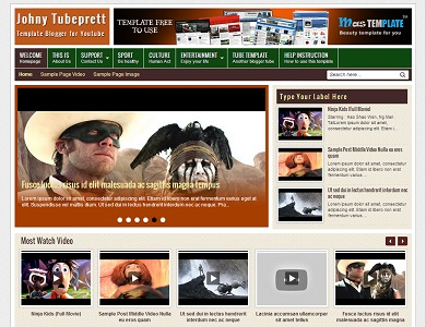 Johny Tubeprett Youtube Video Blogger Template