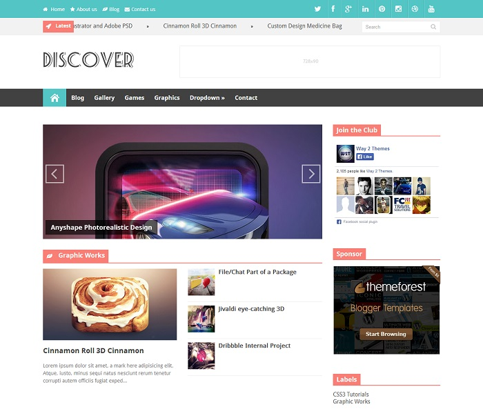 Discover Responsive Magazine Blogger Template full