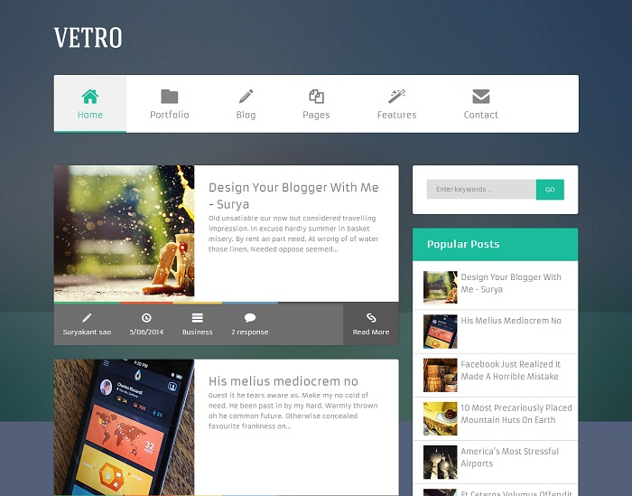 Flat Vetro Magazine Blogger Template full