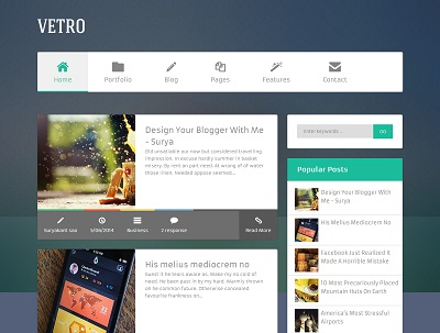Flat Vetro Magazine Blogger Template small
