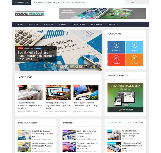 MagNews Responsive Magazine Blogger Template full