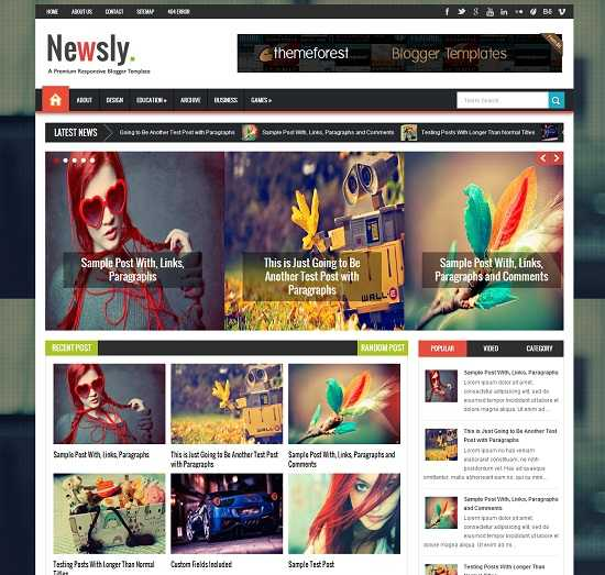 Newsly Multipurpose Blogger Template full