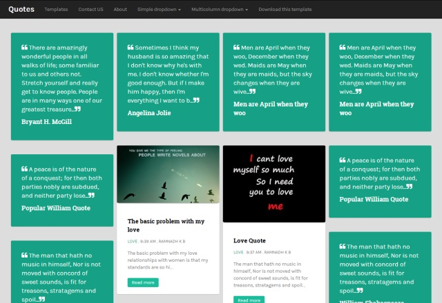Quotes Responsive Masonry Blogger Template full
