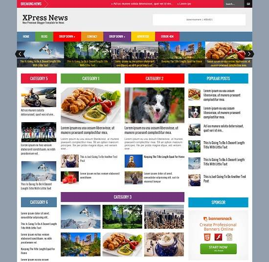 XPress News Responsive Magazine Blogger Template full