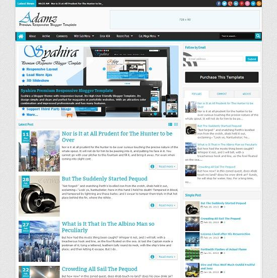 Adamz Magazine Blogger Template full
