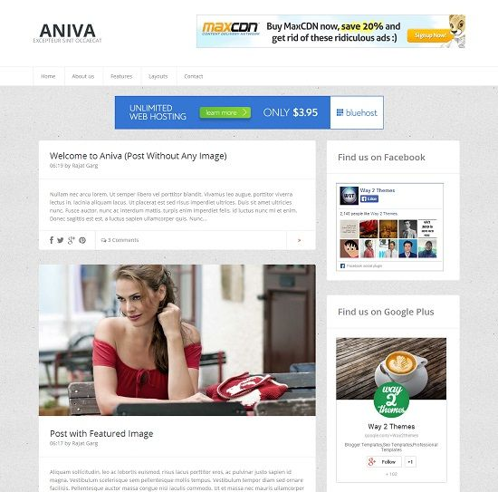Aniva Simple Blogger Template full
