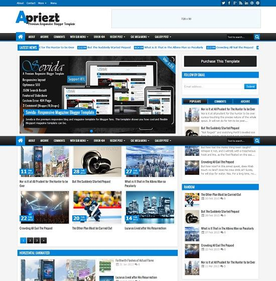 Apriezt Magazine Blogger Template full