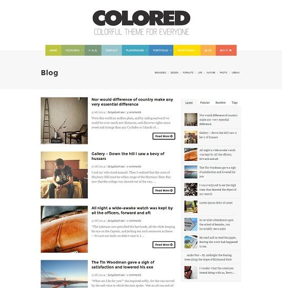Colored Minimal Magazine Blogger Template full