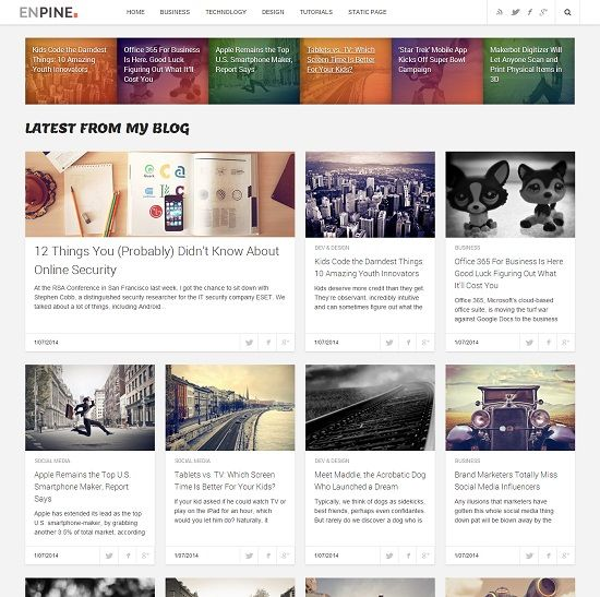Enpine Blog Grid Based Blogger Template