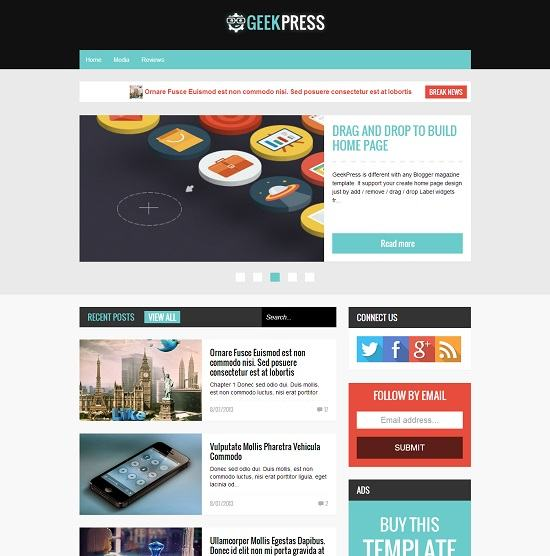 Geek Press Magazine Blogger Template full