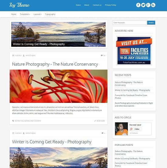 Icy Magazine Blogger Template
