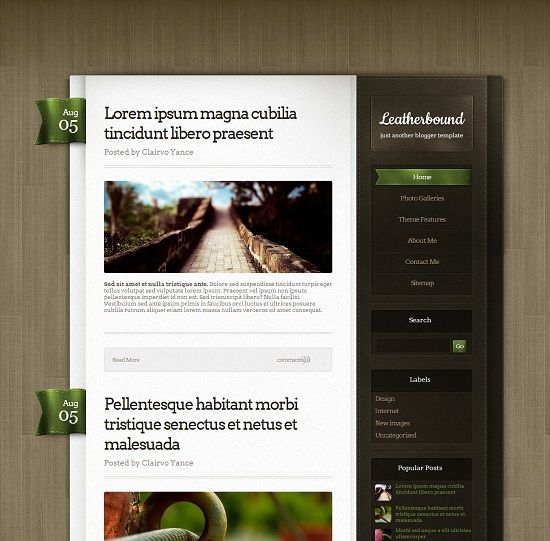 Leatherbound Personal Blogger Template