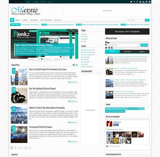 Maxxiz Magazine Blogger Template full