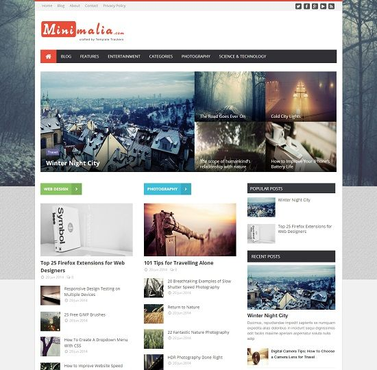 Minimalia Multi Layout Blogger Template
