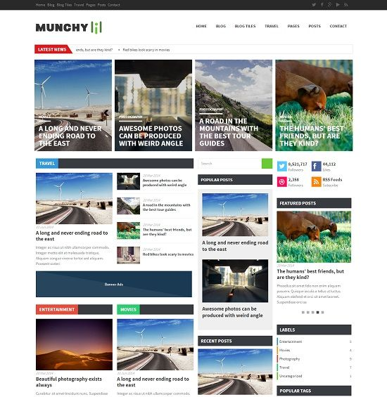 Munchy Flat Style Magazine Blogger Template