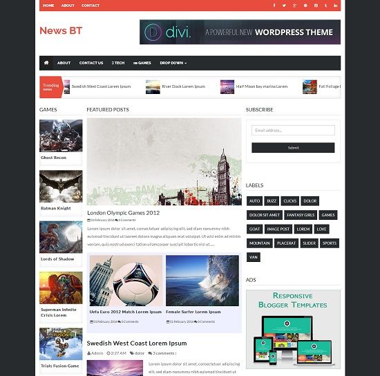 News BT - Responsive Blogger Template