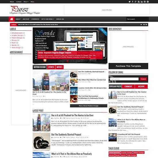 Purez Magazine Blogger Template full
