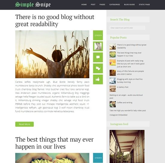 Simple Snipe Simple Magazine Blogger Template