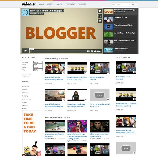 Videoism Video Blogger Template