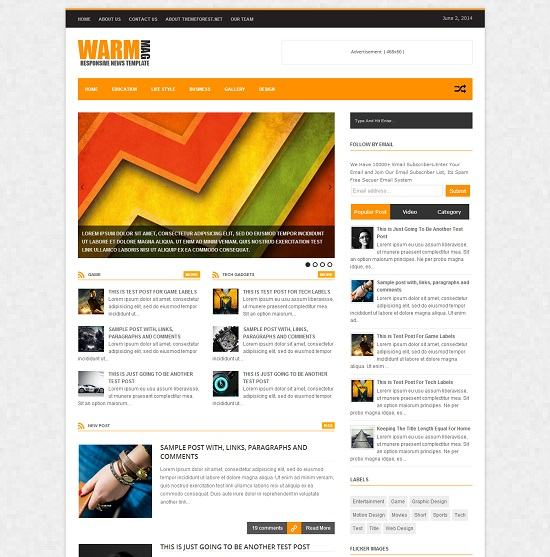 Warm Mag Magazine Blogger Template full