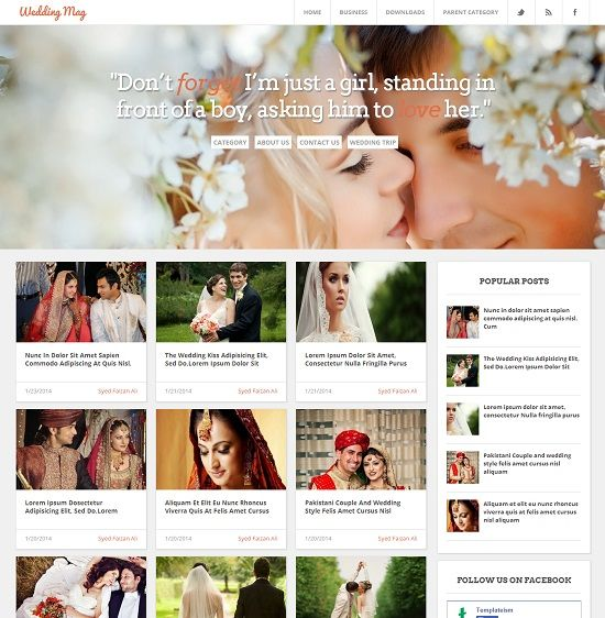 Wedding Mag Grid Based Magazine Blogger Template