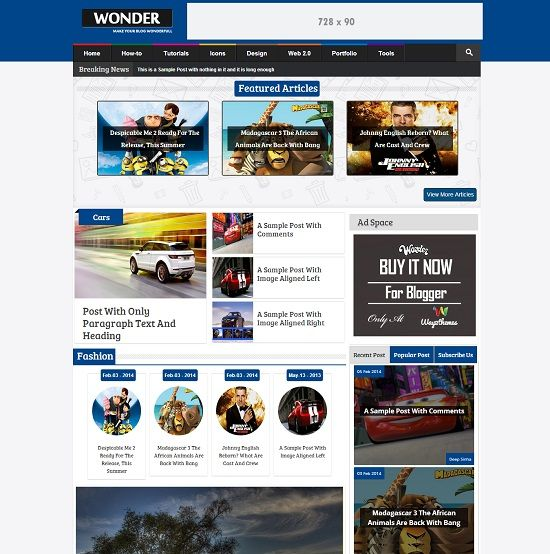 Wonder Magazine Multimedia Blogger Template full