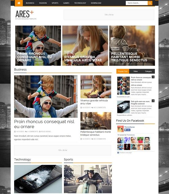 ARES Responsive Magazine Blogger Template