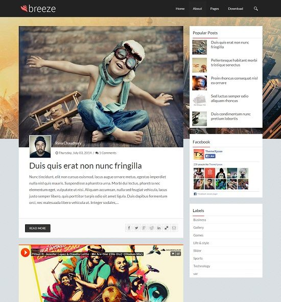 Breeze Personal Blogger Template