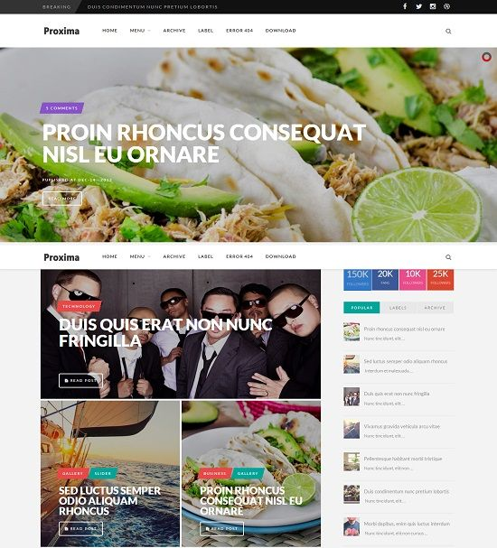 Proxima Multi Purpose Blogger Template