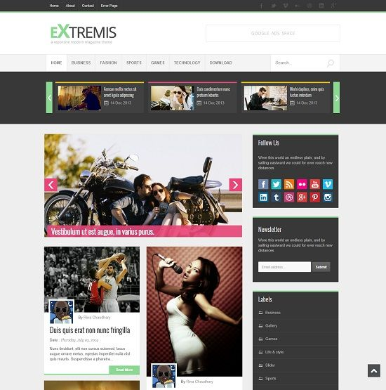 Extremis Grid Based Blogger Template