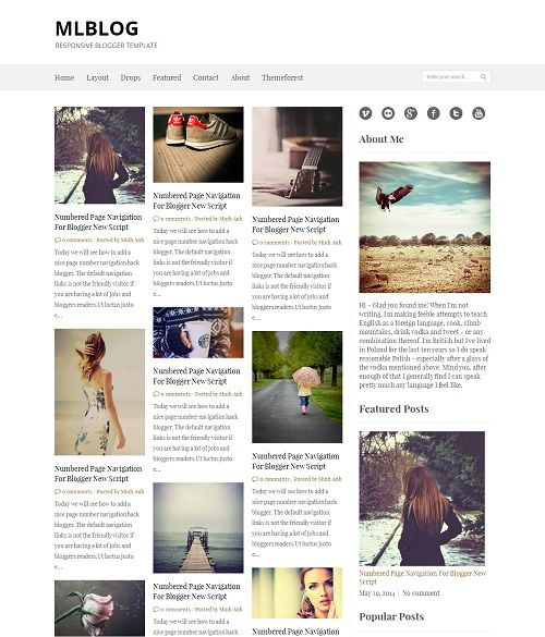 MLBLOG Grid Based Blogger Template