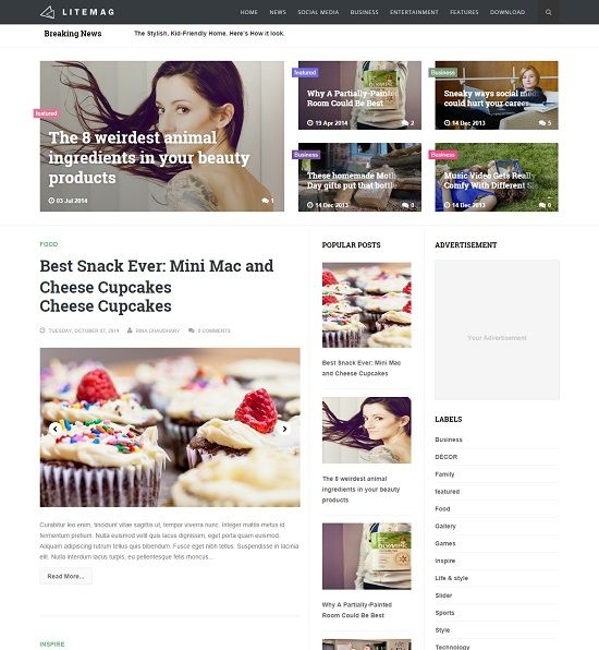 LiteMag Clean Magazine Blogger Template