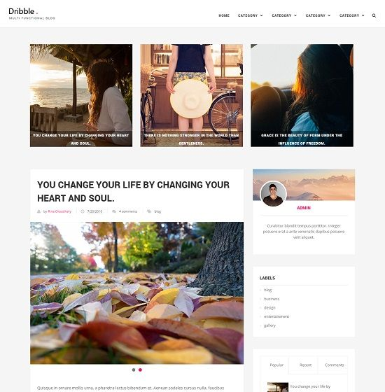 Dribble Clean Blogger Template