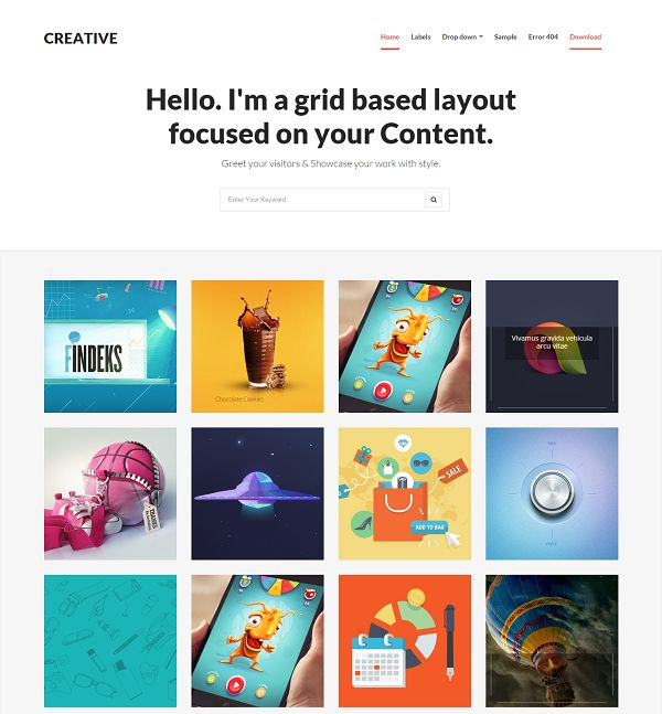 Creative Grid Based blogger Template