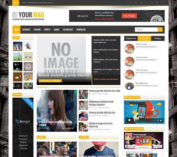 yourmag magazine blogger template. Black Bedroom Furniture Sets. Home Design Ideas