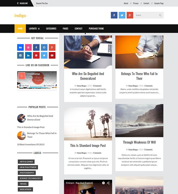 indigo grid based blogger template