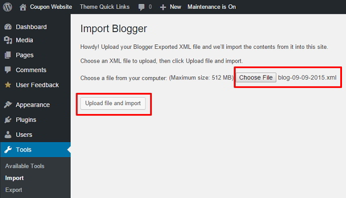 Import Blogger Content WordPress Wizard