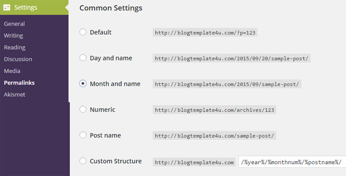 Permalink Settings WordPress