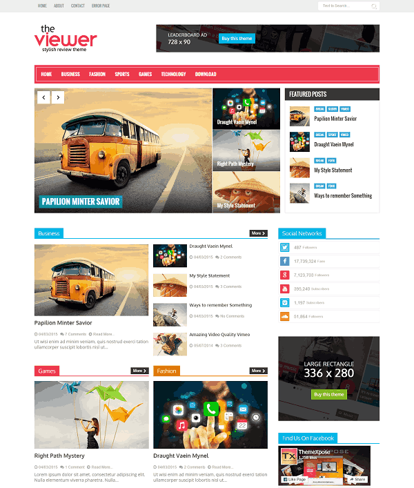 Viewer Magazine Blogger template