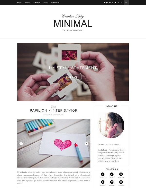 Creative Minimal Blogger Template