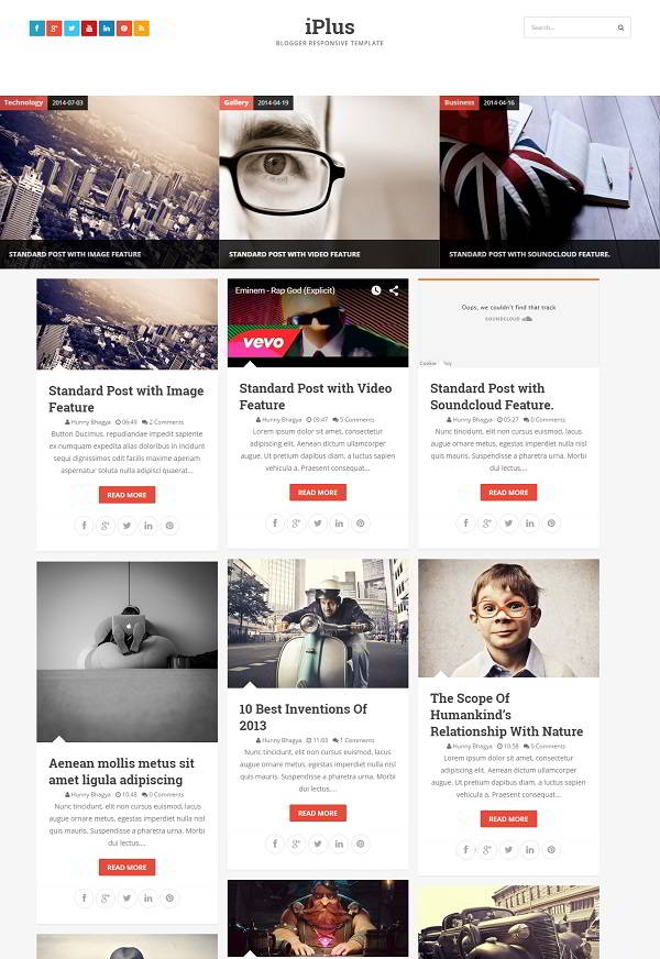 iPlus Grid Based Blogger Template