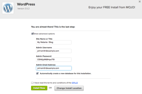 SimpleScripts Mojo WordPress Install