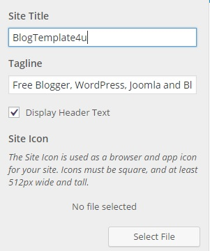 WordPress Site title, Tagline and Favicon