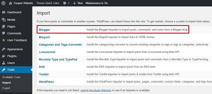 wordpress dashboard import tools