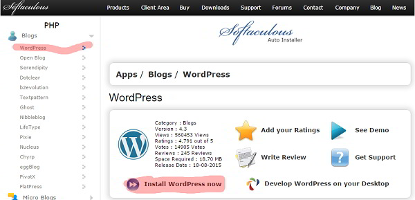 WordPress on Softaculous