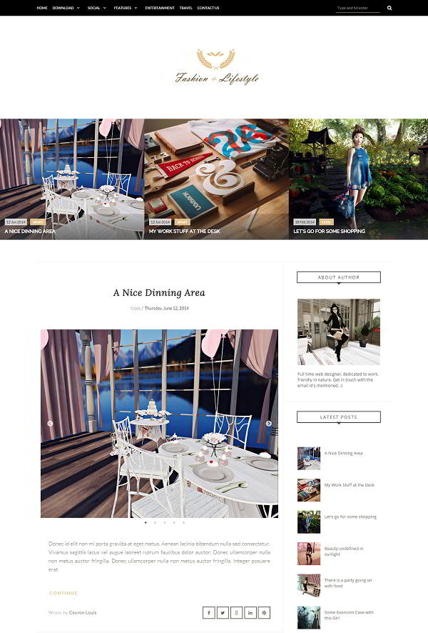 Lifestyle Fashion Blogger Template