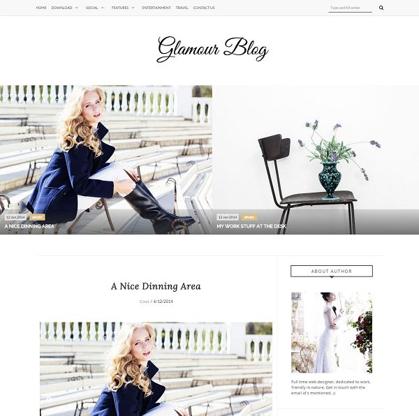 Glamour Fashion Blogger Template