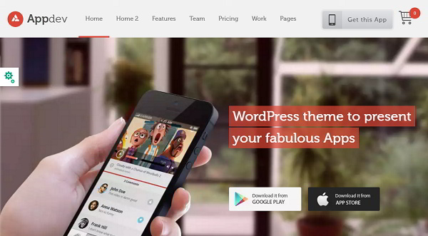 Appdev Mobile app showcase wordpress theme